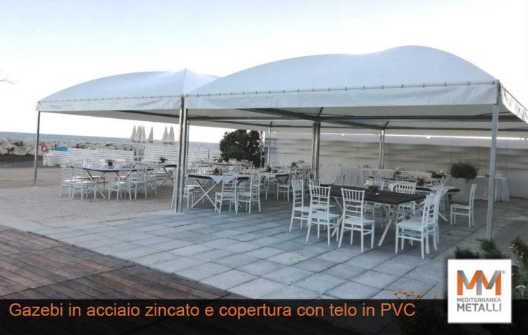 Gazebi in acciaio zincato e copertura in PVC: guarda i nuovi lavori