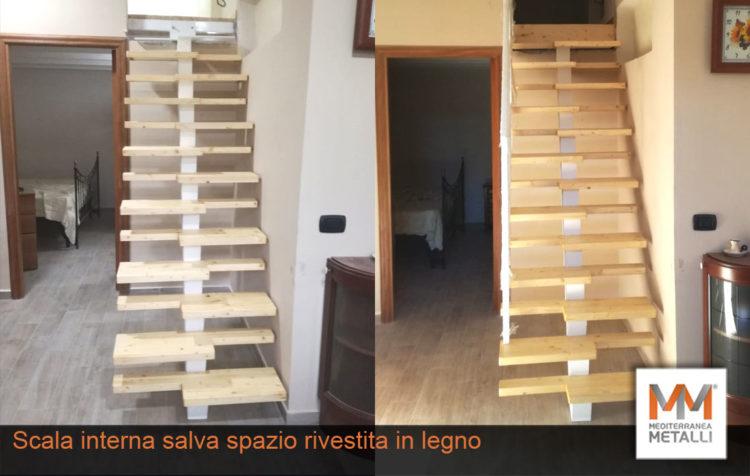 Scala interna salva spazio con rivestimento in legno: guarda i nuovi lavori
